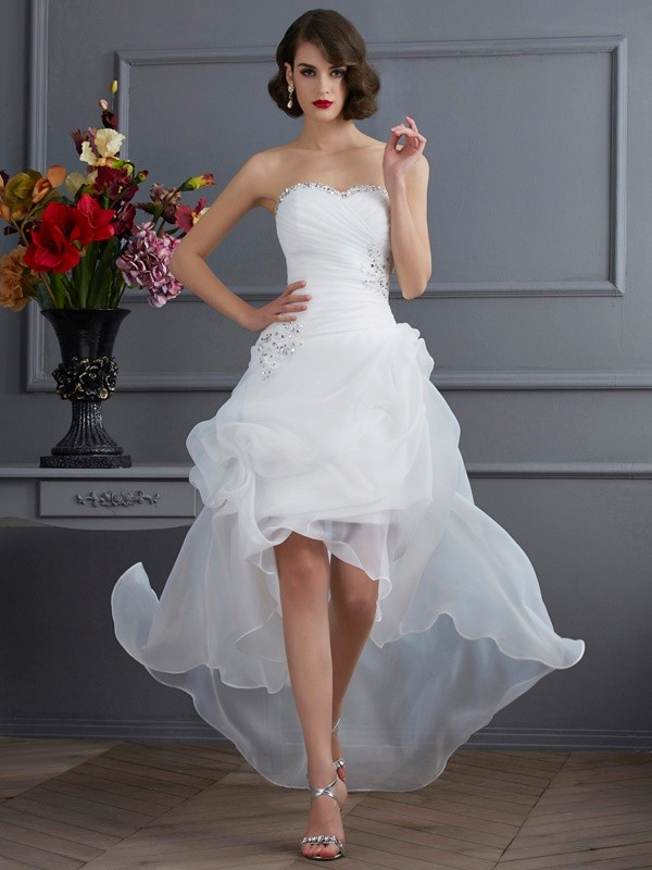 Cheerful Spirit Princess Style Sweetheart Beading High Low Organza Wedding Dresses