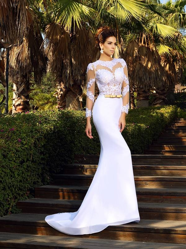 Pleased to be Me Sheath Style Scoop Applique Long Satin Wedding Dresses