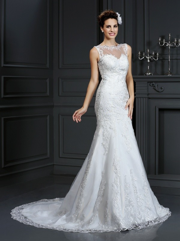 Limitless Looks Sheath Style Bateau Lace Long Satin Wedding Dresses