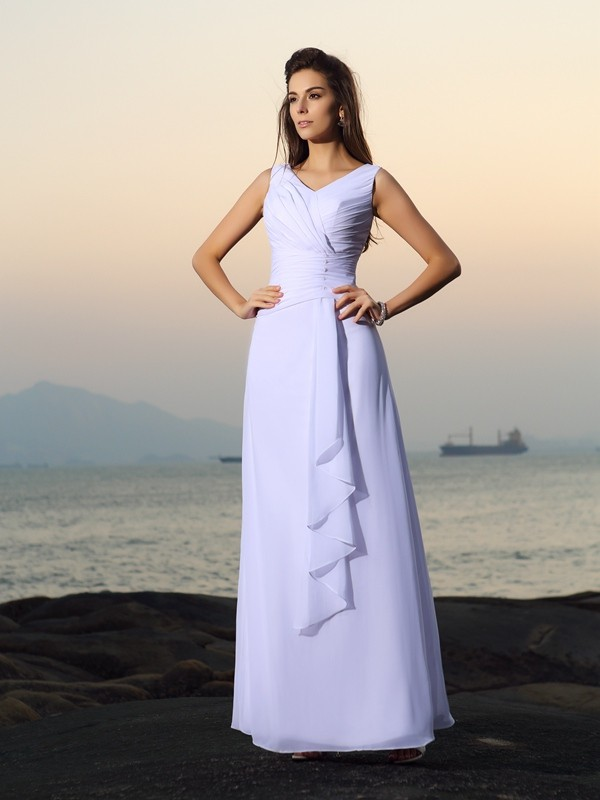 Savor the Occasion Princess Style V-neck Pleats Long Chiffon Beach Wedding Dresses