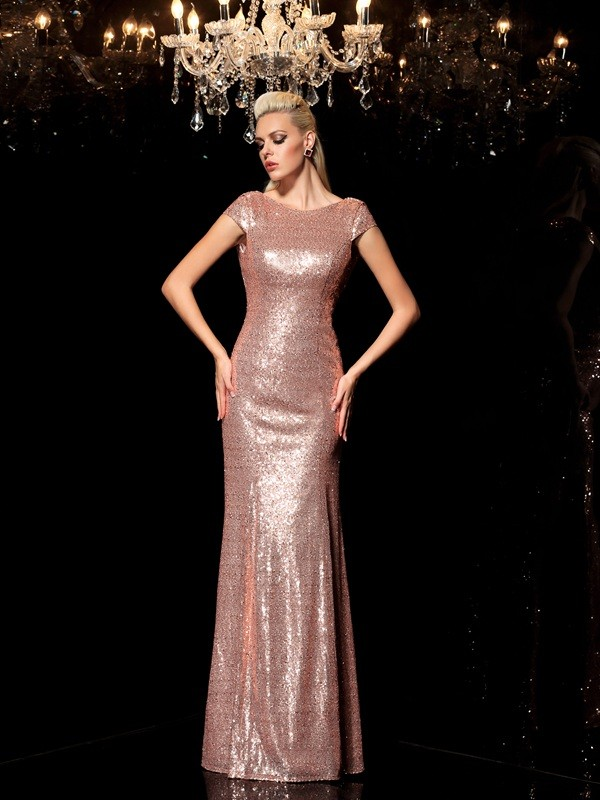 Intuitive Impact Sheath Style Scoop Sequin Long Sequins Dresses