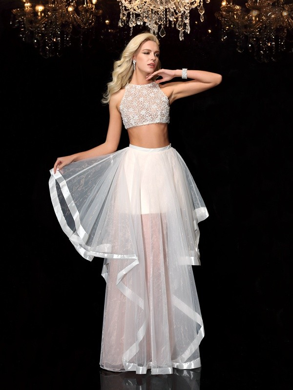 Cordially Delighted Princess Style Scoop Applique Long Tulle Two Piece Dresses