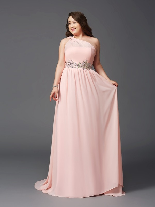 Cordially Delighted Princess Style One-Shoulder Rhinestone Long Chiffon Plus Size Dresses