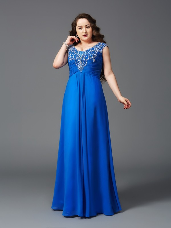 Yours Truly Princess Style Straps Beading Long Chiffon Plus Size Dresses