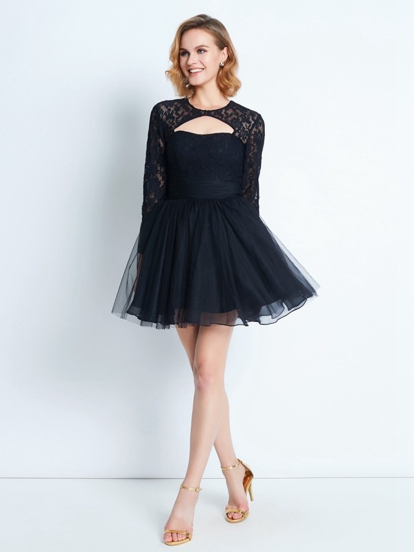 Yours Truly Princess Style High Neck Lace Short/Mini Net Dresses