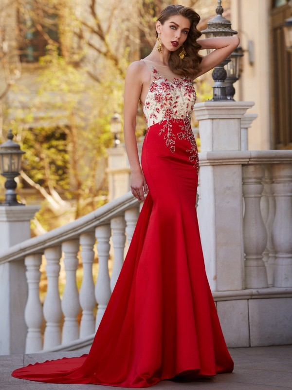 Beautiful You Mermaid Style Sheer Neck Court Train Applique Stain Dresses