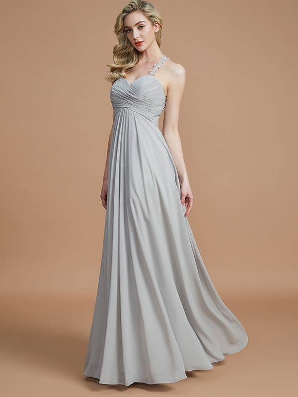 Defined Shine Princess Style Sweetheart With Ruched Floor-Length Chiffon Bridesmaid Dresses