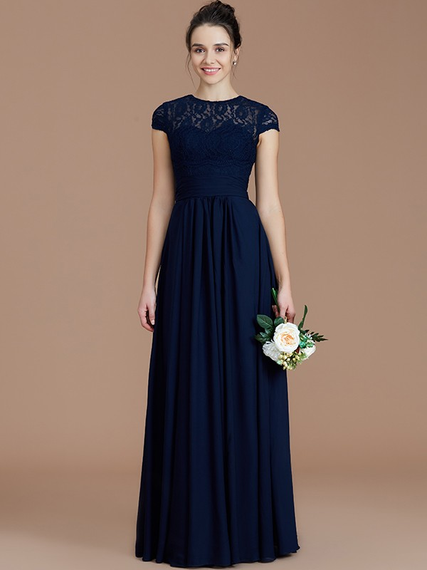 Pleased to be Me Princess Style Jewel With Lace Floor-Length Chiffon Bridesmaid Dresses