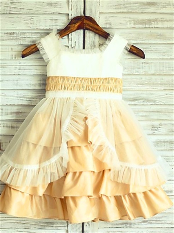 Too Much Fun Princess Style Square Layers Tea-Length Satin Flower Girl Dresses