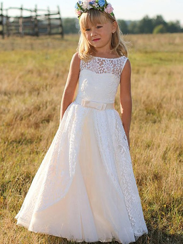 First Impressions Princess Style Scoop Floor-Length Sash/Ribbon/Belt Lace Flower Girl Dresses