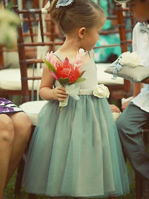 Open to Adoration Princess Style Square Tea-Length Hand-Made Flower Tulle Flower Girl Dresses