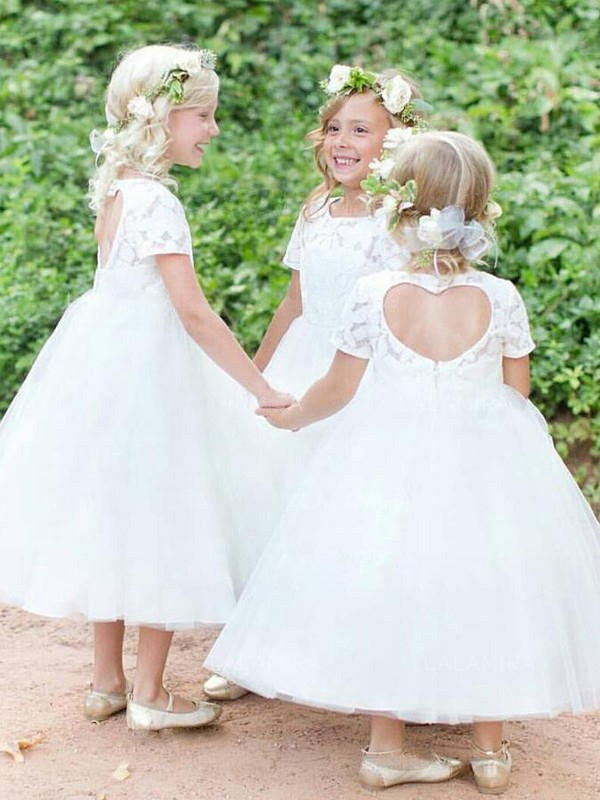 Stylish Refresh Ball Gown Scoop Tea-Length Lace Tulle Flower Girl Dresses