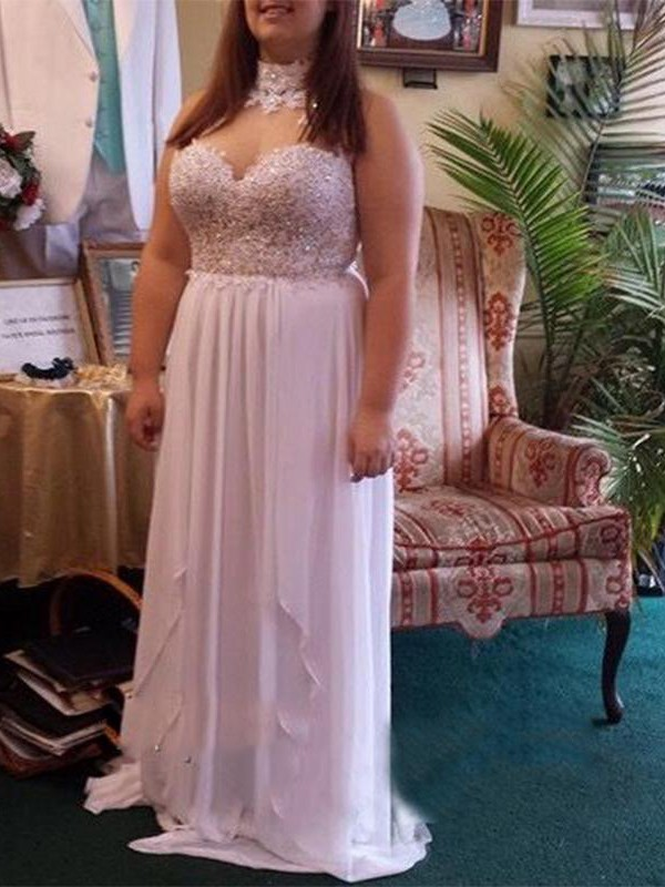 Chic Chic London Princess Style Sweetheart With Beading Floor-Length Chiffon Plus Size Dresses