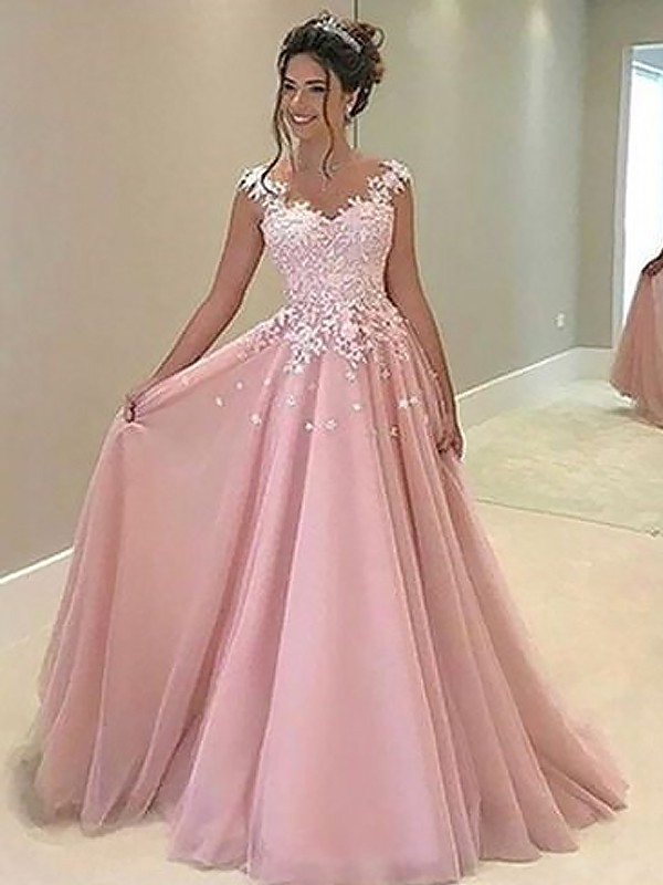 Naturally Chic Princess Style Sweetheart Floor-Length With Applique Tulle Dresses