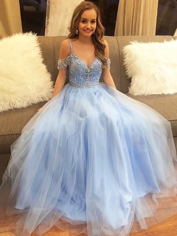 Eye-Catching Charm Princess Style Off-the-Shoulder Floor-Length Tulle With Beading Dresses