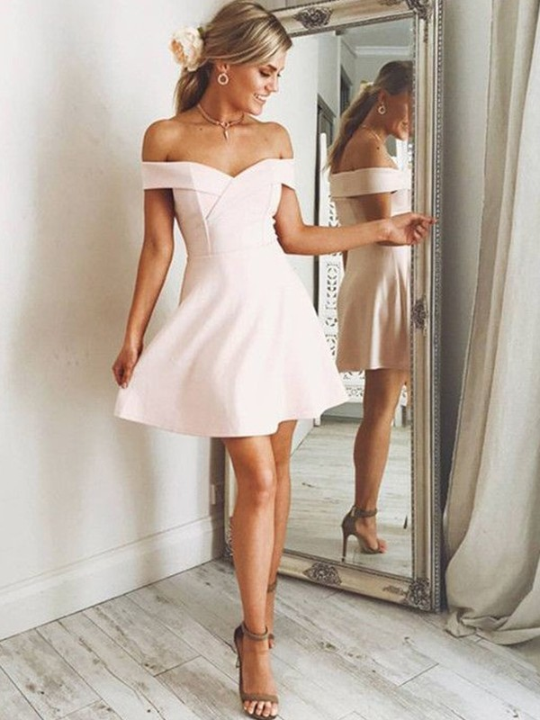 Chic Chic London Princess Style Off-the-Shoulder Satin Short/Mini Dresses