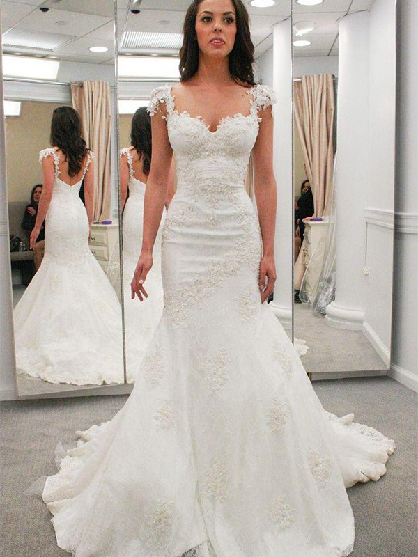 Voiced Vivacity Mermaid Style Sweetheart With Applique Chapel Train Lace Wedding Dresses