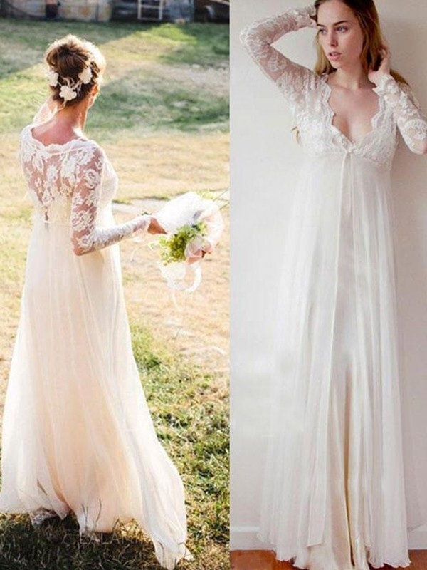 Visual Moment Empire V-neck Chiffon With Lace Floor-Length Wedding Dresses