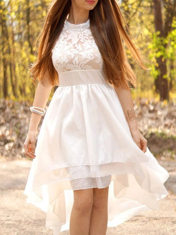 Too Much Fun Princess Style Chiffon With Ruched Halter Asymmetrical Wedding Dresses