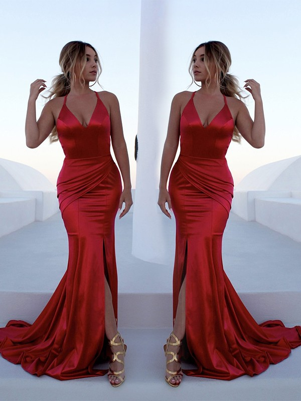 Limitless Looks Mermaid Style Halter Sweep/Brush Train Ruffles Satin Dresses