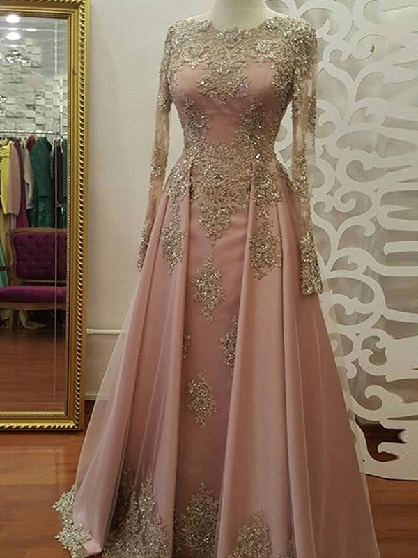 Naturally Chic Princess Style Scoop Floor-Length Applique Tulle Muslim Dresses