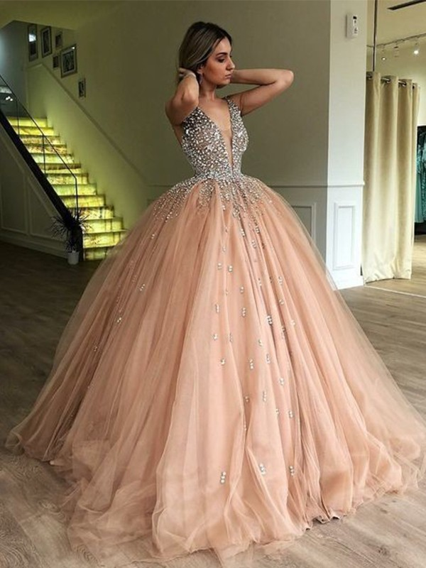 Pleasant Emphasis Ball Gown V-neck Sleeveless Floor-Length Beading Tulle Dresses