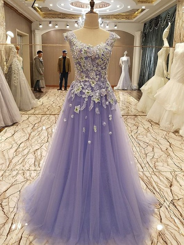Cheerful Spirit Princess Style Scoop Floor-Length With Applique Tulle Dresses