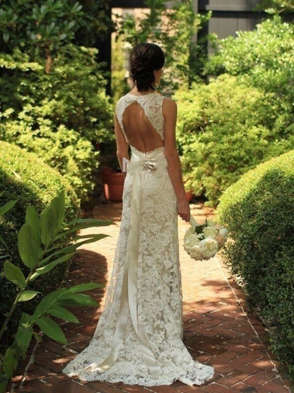 Creative Courage Sheath Style Lace V-neck Sweep/Brush Train Wedding Dresses