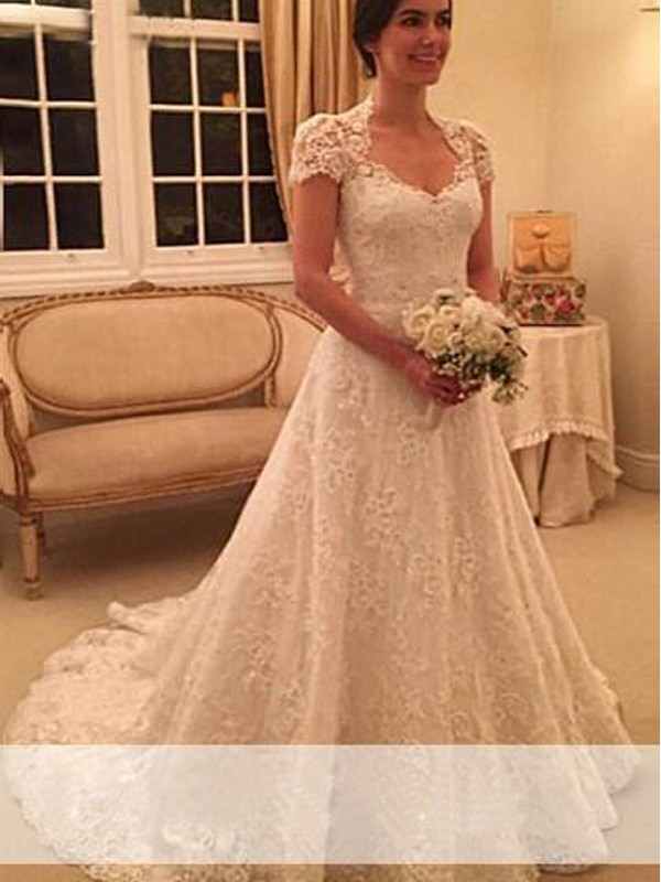 Just My Style Princess Style Sweetheart Court Train Lace Wedding Dresses