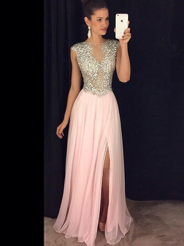 Memorable Magic Princess Style Bateau Chiffon Sequin Floor-Length Dresses
