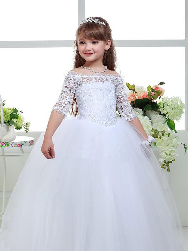 Yours Truly Ball Gown Off-the-Shoulder Lace Floor-Length Tulle Flower Girl Dresses