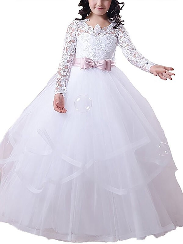 Defined Shine Ball Gown Jewel Lace Floor-Length Tulle Flower Girl Dresses