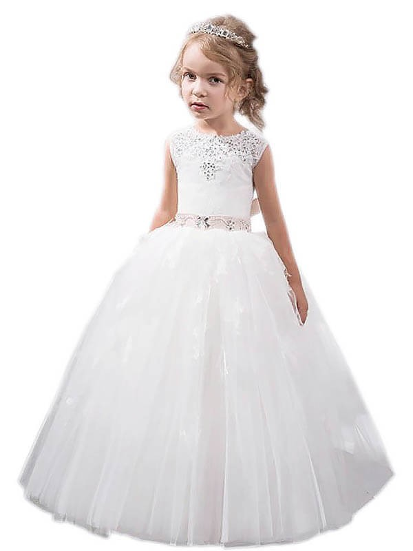 Comfortably Chic Ball Gown Jewel Crystal Floor-Length Tulle Flower Girl Dresses