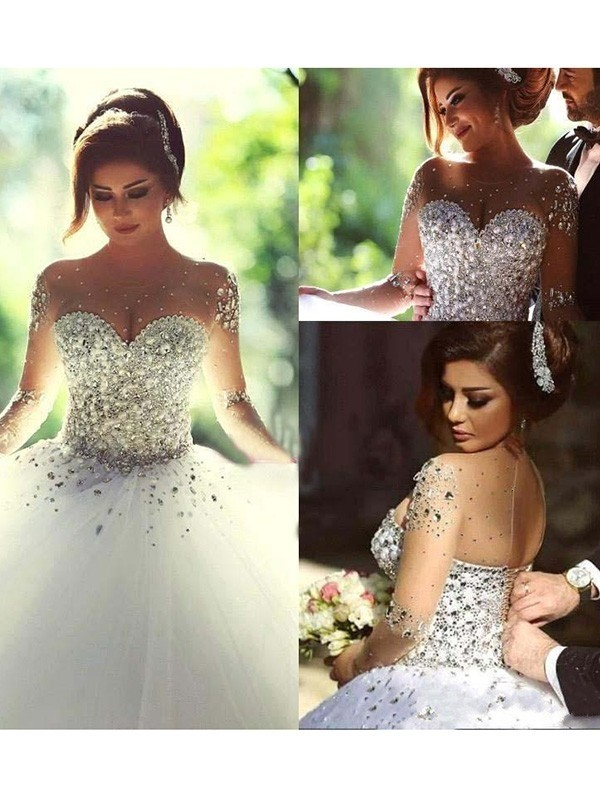 Naturally Chic Ball Gown Scoop Court Train Beading Tulle Wedding Dresses