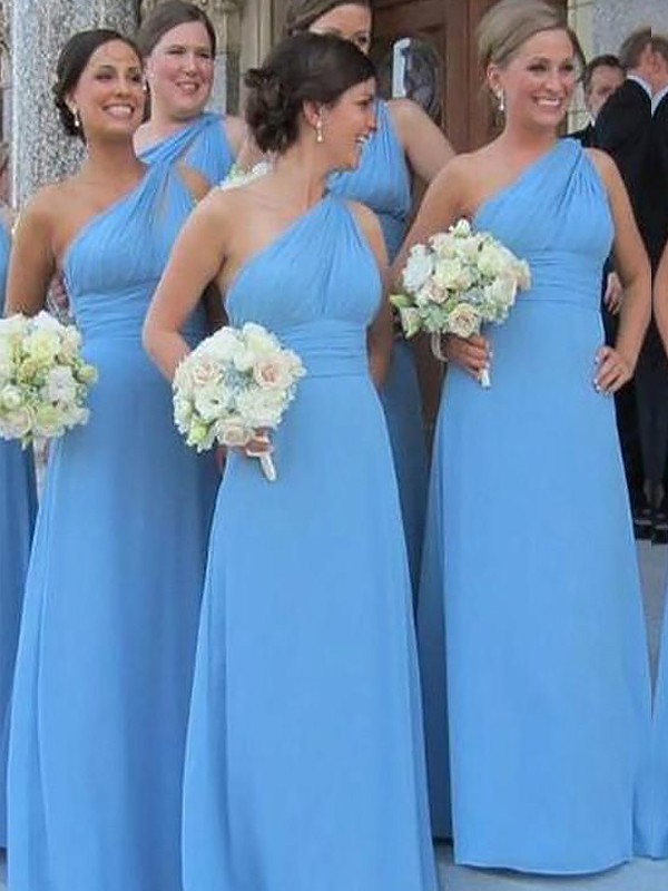 Absolute Lovely Sheath Style One-Shoulder Chiffon Floor-Length Bridesmaid Dresses