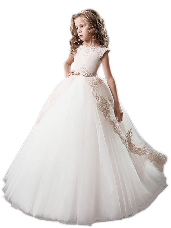 Befits Your Brilliance Ball Gown Scoop Tulle Applique Floor-Length Flower Girl Dresses