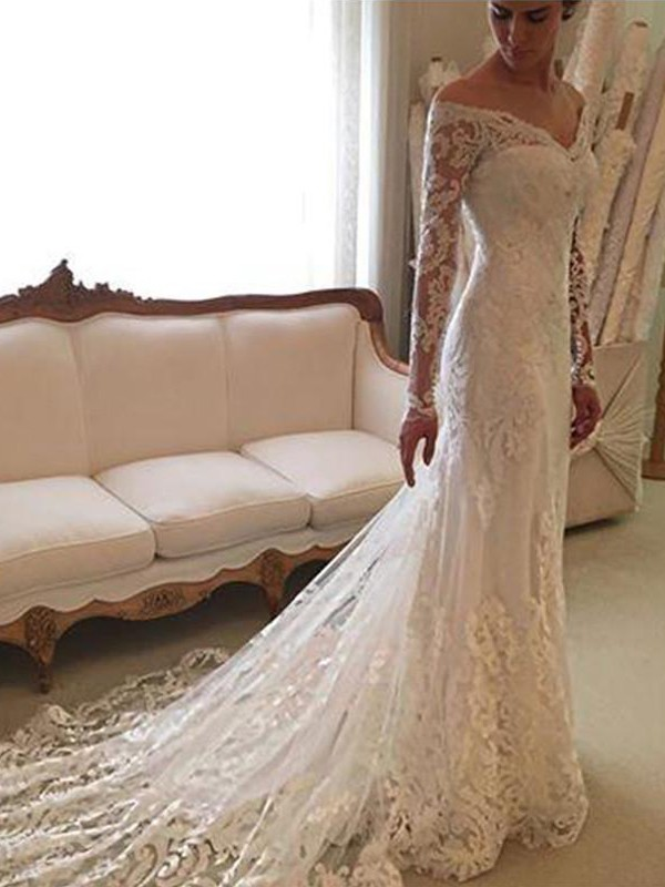 Fabulous Fit Sheath Style Lace Off-the-Shoulder Court Train Wedding Dresses