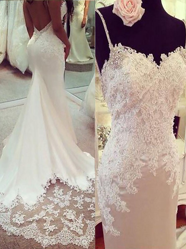 Modern Mood Mermaid Style With Applique Satin Spaghetti Straps Court Train Wedding Dresses