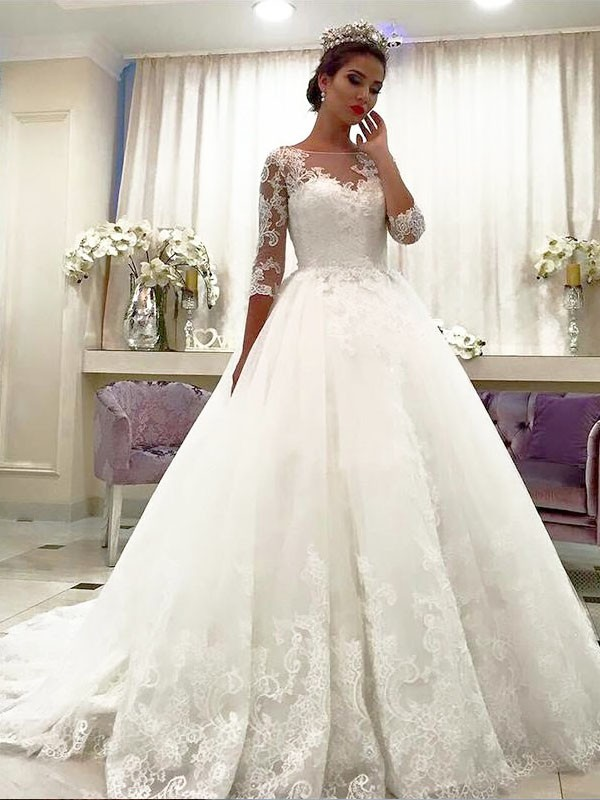 Fresh Picks Ball Gown Tulle Bateau Lace Court Train Wedding Dresses