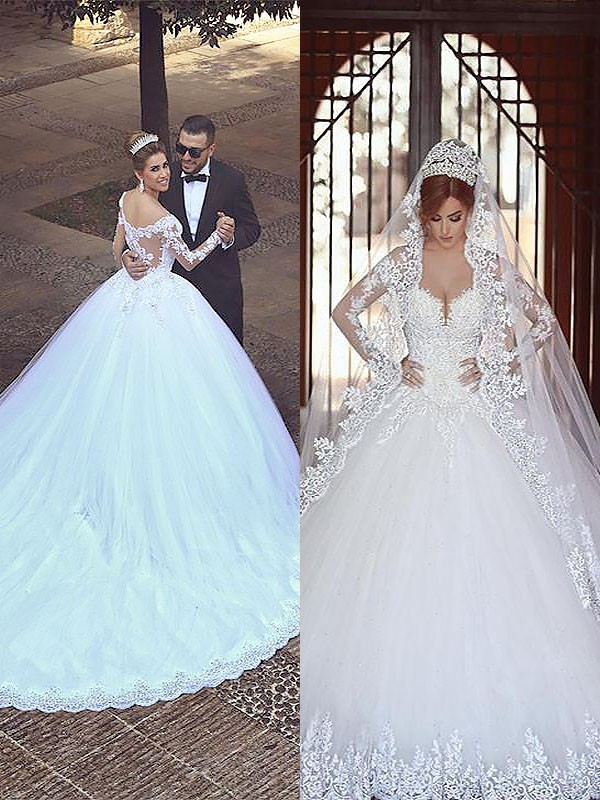 First Impressions Ball Gown Tulle Off-the-Shoulder Court Train Wedding Dresses