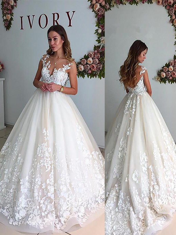 Fabulous Fit Princess Style V-neck Court Train Tulle Wedding Dresses