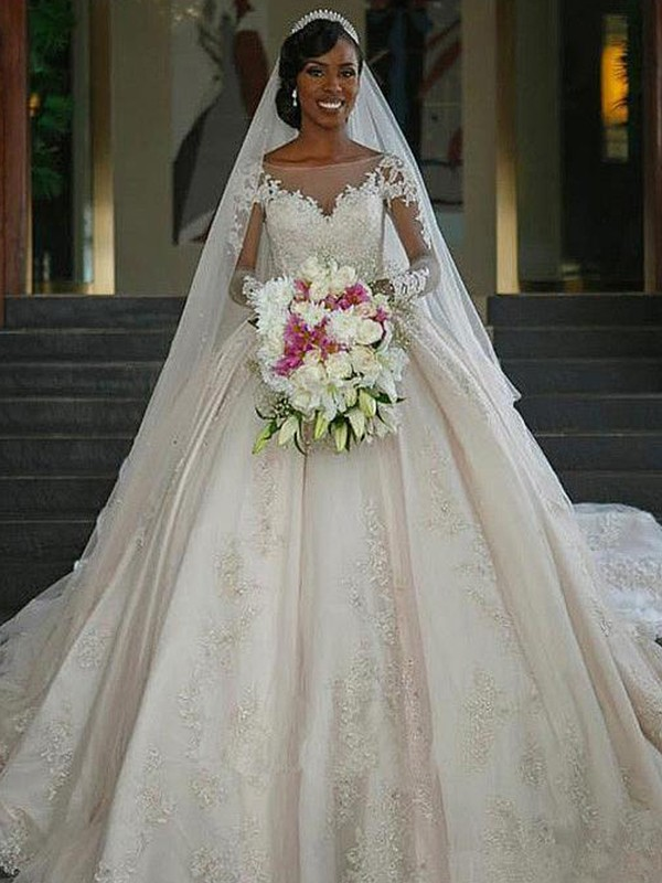 Cheerful Spirit Ball Gown Bateau Sweep/Brush Train Applique Satin Wedding Dresses