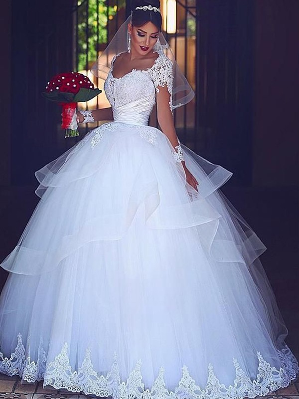 Stylish Refresh Ball Gown Sweetheart Floor-Length Lace Tulle Wedding Dresses