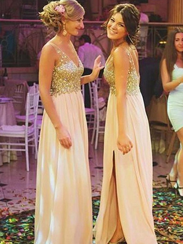Pleasant Emphasis Princess Style V-neck Floor-Length Sequin Chiffon Bridesmaid Dresses