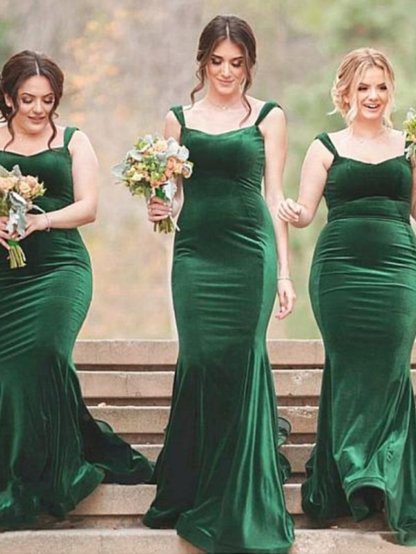 Desired Spotlight Sheath Style Spaghetti Straps Sweep/Brush Train Ruffles Velvet Bridesmaid Dresses