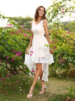 Festive Self Princess Style V-neck Lace High Low Lace Bridesmaid Dresses
