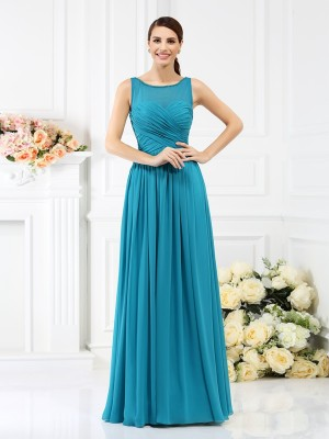 Befits Your Brilliance Princess Style Bateau Pleats Long Chiffon Bridesmaid Dresses