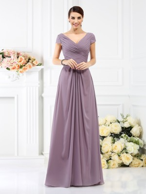 Pleasant Emphasis Princess Style V-neck Pleats Long Chiffon Bridesmaid Dresses
