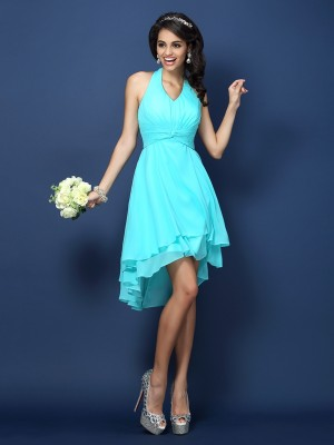 Time to Shine Princess Style Halter Pleats Short Chiffon Bridesmaid Dresses