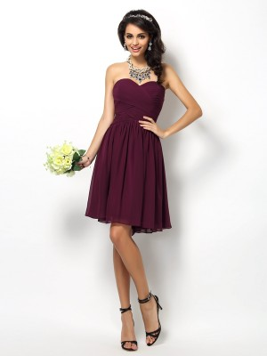 Befits Your Brilliance Princess Style Sweetheart Pleats Short Chiffon Bridesmaid Dresses